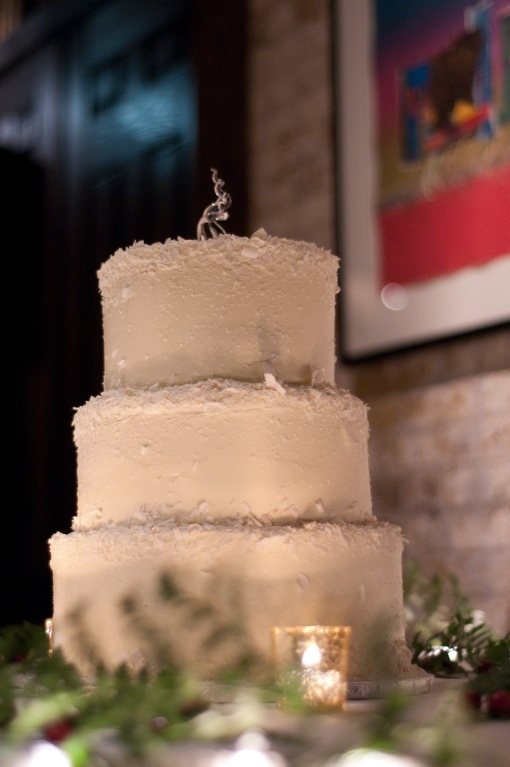 White Shaved Chocolate Wedding Cake